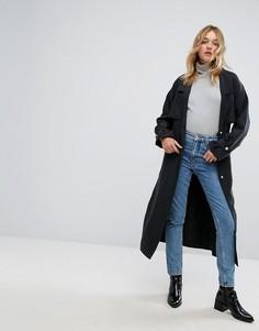 Пальто на пуговицах с поясом Monki - Черный