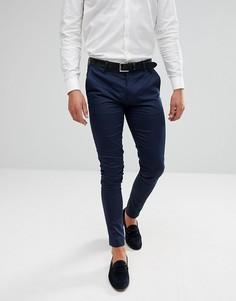 Темно-синие брюки супероблегающего кроя из хлопкового сатина ASOS Wedding - Темно-синий