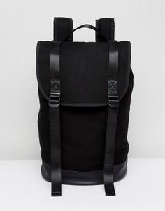 Черный рюкзак с двумя ремешками и основанием из искусственной кожи ASOS - Черный