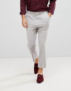 Серые зауженные бархатные брюки ASOS - Серый