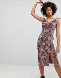 Платье миди из мятого бархата NYTT - Розовый