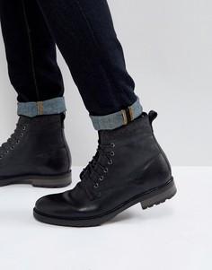 Черные кожаные ботинки на шнуровке с подкладкой из искусственной овечьей шерсти ASOS - Черный