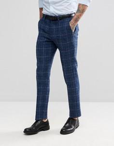 Синие брюки узкого кроя из 100% шерстяного харрис-твида с узором в елочку ASOS - Синий