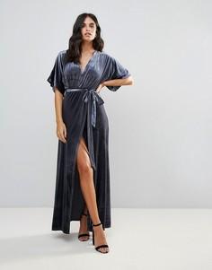 Бархатное платье макси с запахом Wyldr Dreamer Desert Moon - Серебряный