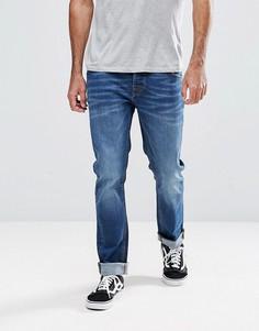 Выбеленные синие узкие джинсы Hoxton Denim - Синий
