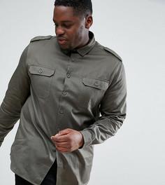 Рубашка цвета хаки с двумя карманами ASOS PLUS - Зеленый