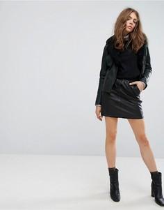 Кожаная юбка Goosecraft - Черный