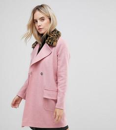 Пальто с леопардовым принтом на воротнике ASOS PETITE - Розовый