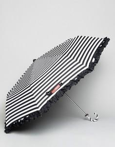 Черно-белый зонт в полоску Bombay Duck - Черный
