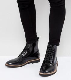 Черные кожаные ботинки на шнуровке для широкой стопы ASOS - Черный