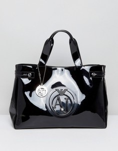 Черная большая лакированная сумка-тоут Armani Jeans - Черный
