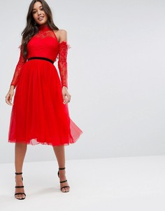 Платье миди для выпускного из тюля с вырезами на плечах ASOS PREMIUM - Красный