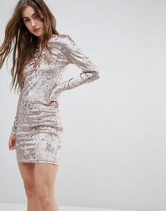 Облегающее платье из мятого бархата Blend She Val - Розовый