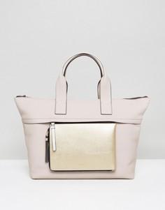 Большая сумка-тоут со съемным кошельком на молнии Calvin Klein - Бежевый