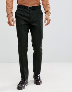 Зеленые брюки слим из твида Харрис на основе 100% шерсти ASOS - Зеленый