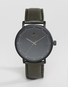 Черные часы с ремешком из искусственной кожи цвета хаки ASOS - Черный