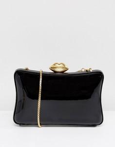 Черно-золотой лакированный клатч в форме коробочки Lulu Guinness - Черный