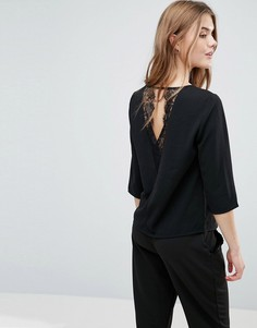 Блузка с кружевной вставкой на спине Only Lin Aya - Черный
