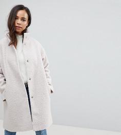 Oversize-пальто с высоким воротником ASOS PETITE - Кремовый