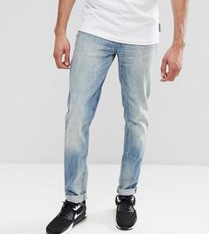 Выбеленные узкие эластичные джинсы с потертостями ASOS TALL - Синий