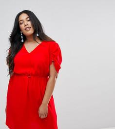 Чайное платье мини с эластичным поясом ASOS CURVE - Красный