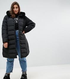 Длинное дутое пальто с меховой отделкой на капюшоне ASOS CURVE - Черный
