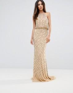 Платье макси с драпировкой на спине Forever Unique - Кремовый