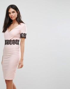 Платье-футляр миди с кружевной отделкой Paper Dolls - Розовый