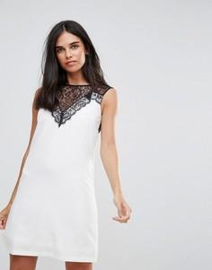 Платье-туника без рукавов с кружевными вставками Paper Dolls - Белый