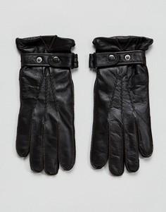 Черные кожаные перчатки Paul Costelloe - Коричневый
