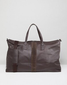 Коричневая кожаная сумка Paul Costelloe - Коричневый