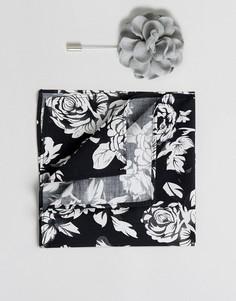 Платок для нагрудного кармана с цветочным принтом и булавка на лацкан с цветком Devils Advocate - Черный
