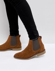 Светло-коричневые ботинки челси из искусственной замши Burton Menswear - Рыжий