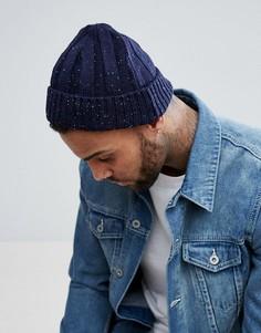 Темно-синяя шапка-бини в цветную крапинку ASOS - Синий