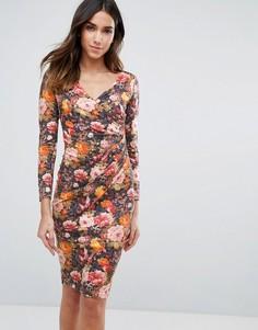 Платье с длинными рукавами и цветочным принтом Vesper - Оранжевый