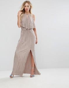 Плиссированное платье макси в греческом стиле с оборкой Oh My Love - Бежевый