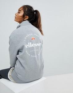 Топ с воротником-стойкой на молнии и логотипом на спине Ellesse - Серый