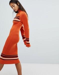 Платье миди с отворачивающимся воротником Ellesse - Оранжевый