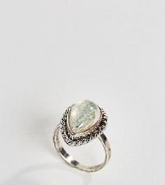 Кольцо с камнем в форме капли ASOS CURVE Mermaid - Серебряный