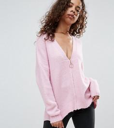 Оверсайз-кардиган на молнии ASOS PETITE - Розовый
