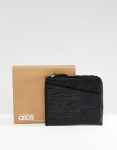 Черный кожаный кошелек на молнии с отделением для карт и тиснением ASOS - Черный