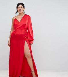Платье макси на одно плечо с высоким разрезом TTYA BLACK Plus - Красный Taller Than Your Average