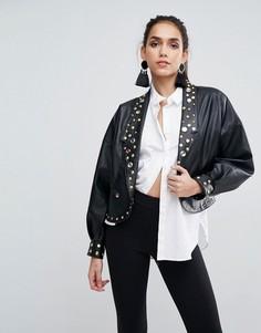 Байкерская куртка из искусственной кожи с отделкой в стиле 80-х ASOS - Черный