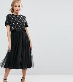 Платье миди для выпускного с декорированным кроп-топом и юбкой из тюля ASOS PETITE - Черный