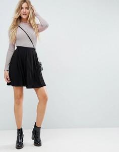 Расклешенная мини-юбка со складками ASOS - Черный