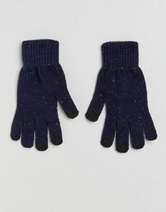 Темно-синие перчатки в крапинку для сенсорных гаджетов ASOS - Синий