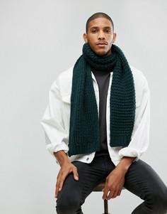 Вязаный шарф бутылочно-зеленого цвета ASOS - Зеленый