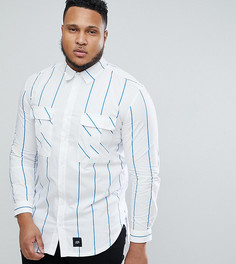 Синяя оверсайз-рубашка в полоску Sixth June PLUS - Синий