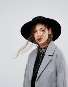 Фетровая шляпа канотье с завязкой ASOS - Черный