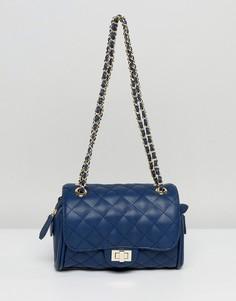Маленькая стеганая сумка через плечо Marc B Knightsbridge - Темно-синий